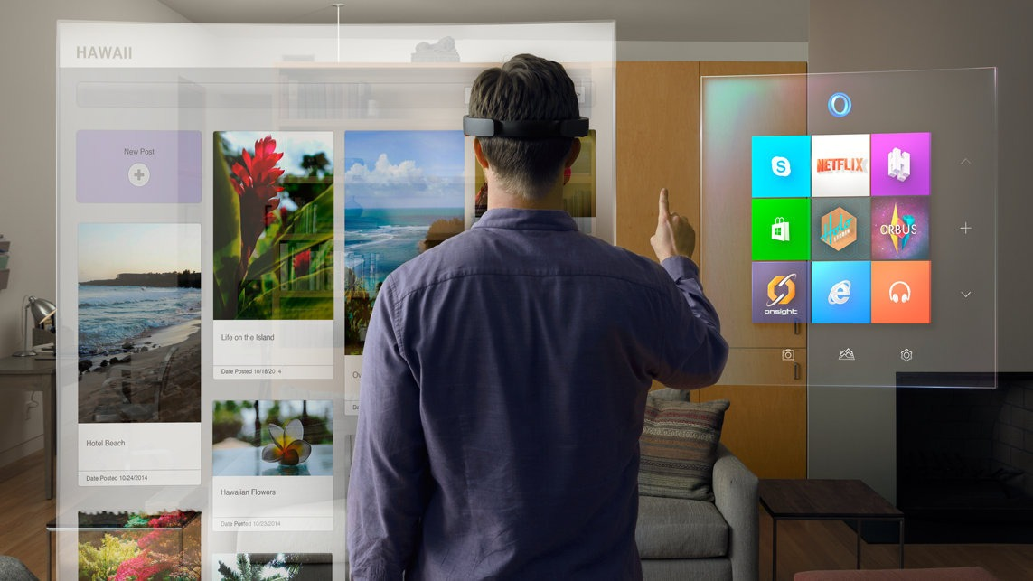 Microsoft transcends the boundaries with it's new HoloLens. Source: Mashable